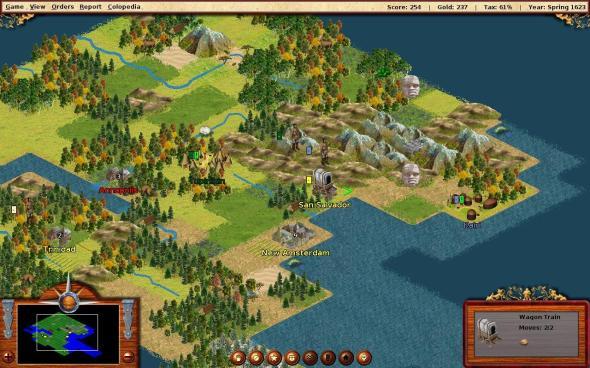 A screenshot of thhe FreeCol gameplay