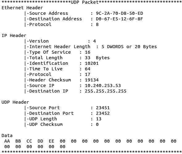 Figure 9 UDP Packet
