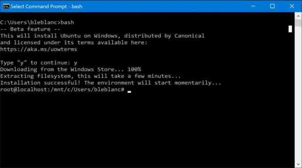 Windows 10 Bash Linux