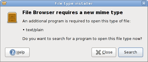 Figure 10: PackageKit prompts to look for an app to access missing mime type