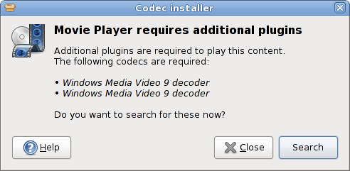 Figure 7: PackageKit informs you of the need for additional codec installation