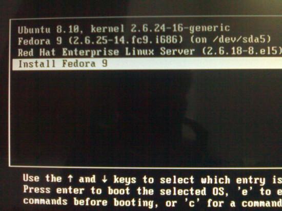"Figure 1: The ""Install Fedora 9"" GRUB entry"