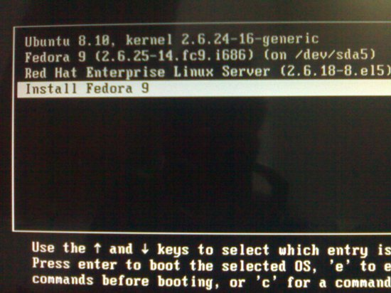 "Figure 1: The ""Install Fedora 9"" GRUB entry"