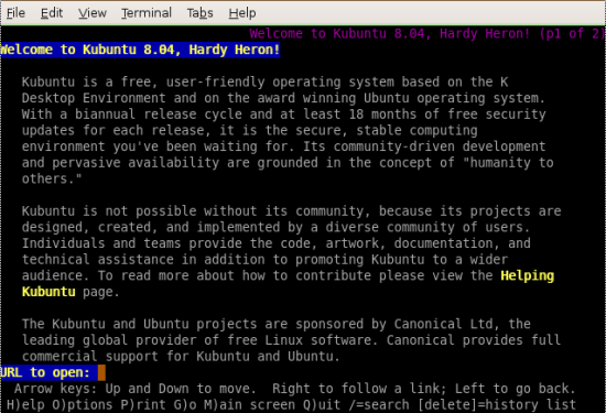 Figure 1: Accessing Kubuntu.org using Lynx from the terminal