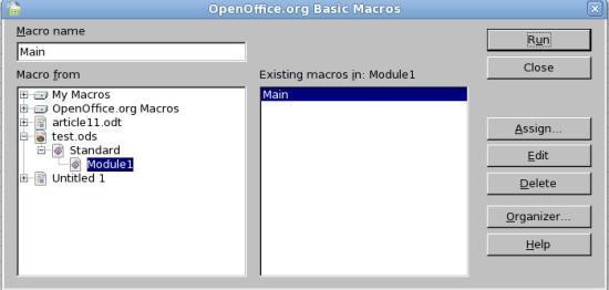 Figure 1: OOo Basic Macros editor