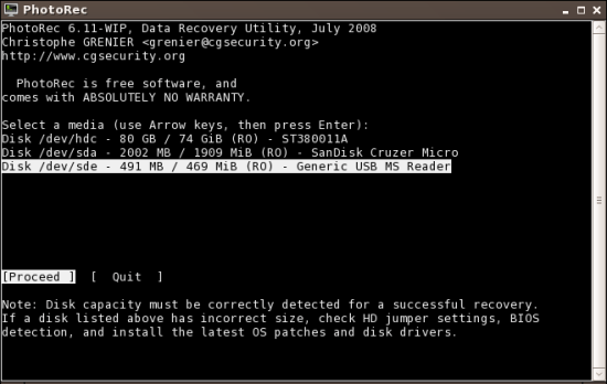 Figure 1: Choose the drive from which data has to be recovered