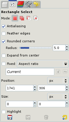 Figure 3: Rectangle selection settings