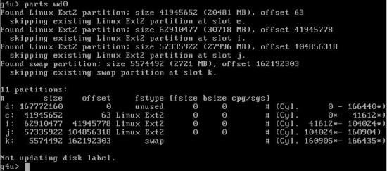 Figure 3: Output of the parts command