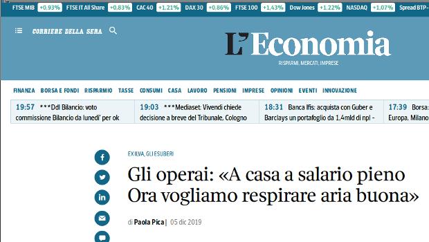 Dal Corriere della sera, L'Economia del 5/12/2019