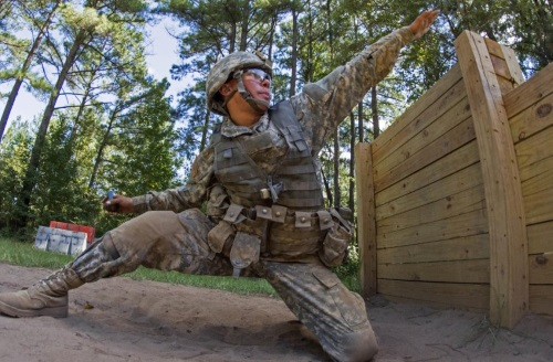 army recruit throwing a grenade