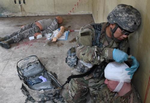 army medic in simulated combat trauma test