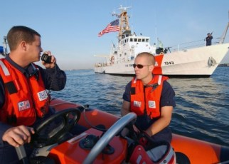 coast guard boatswains mate at work