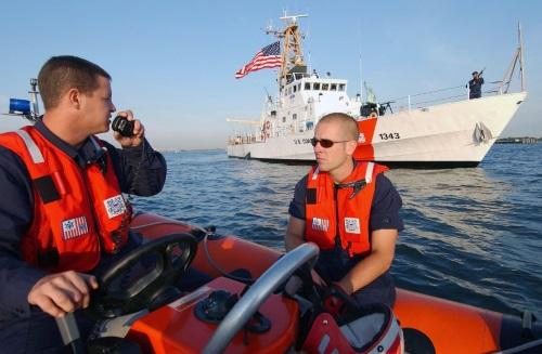 coast guard boatswains mate at work