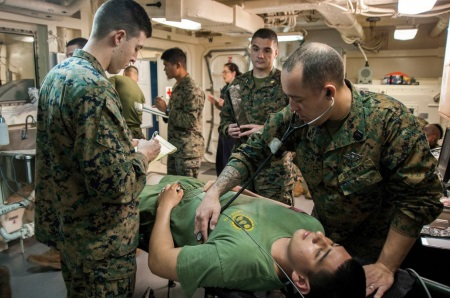 navy hospital corpsman at work