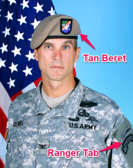 ranger tab and tan beret