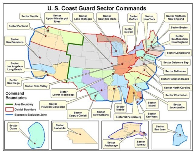 coast guard sectors throughout the US