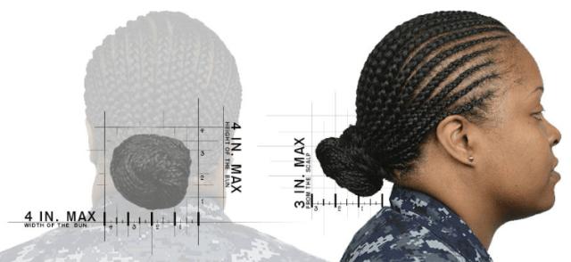 navy female hair bun regulations and standards