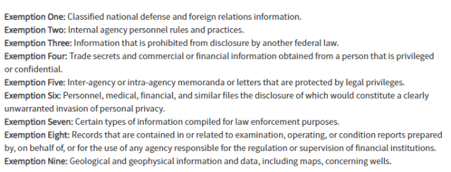 the 9 foia exemptions