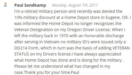 home depot military discount complaint 2