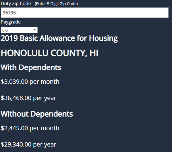 honolulu hawaii bah calculation