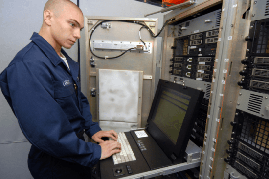 an Information Systems Technician at work