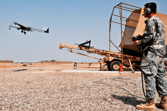 an CH-47 Unmanned Aerial Vehicle (UAV) Operator (15W) at work