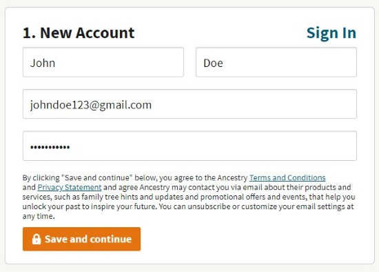 enter your info on ancestry dna