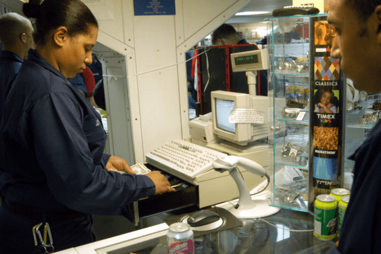 an Ship's Serviceman at work