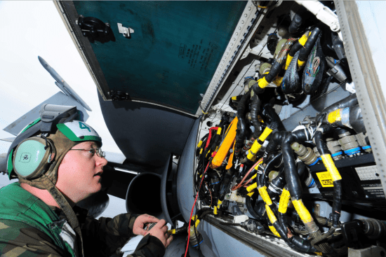 an Aviation Electronics Technician at work