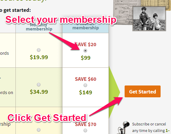 selecting your ancestry membership