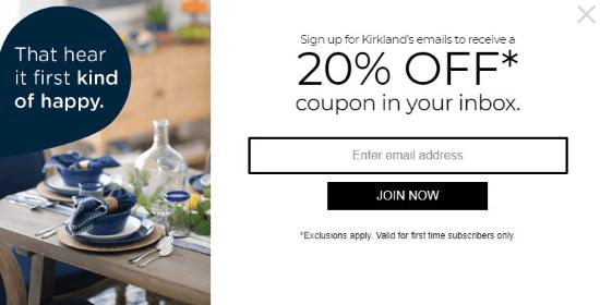 kirklands coupon code