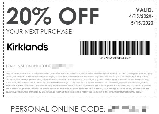 kirklands military discount code