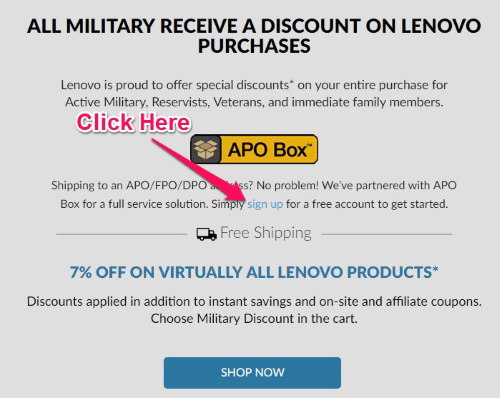 lenovo military discount sign up