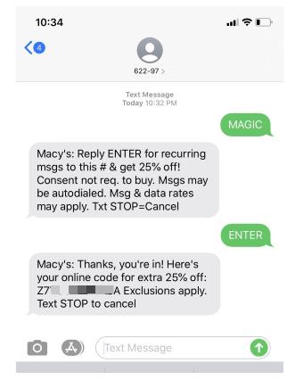 macys text alert discount