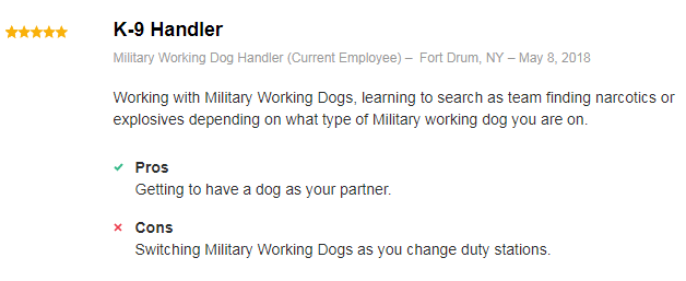 military dog handler review