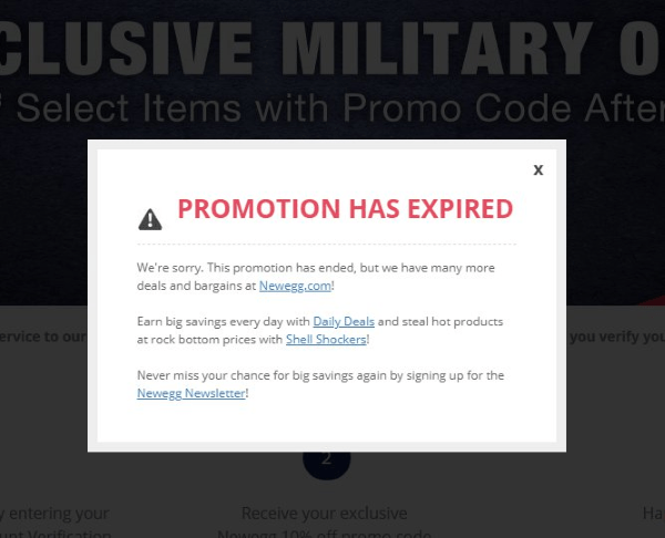 newegg military discount has expired