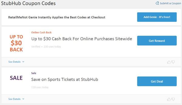retailmenot stubhub coupon and promotion codes