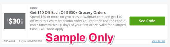 sample walmart discount code