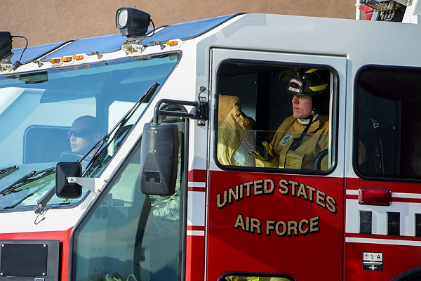 air force firefighter at work