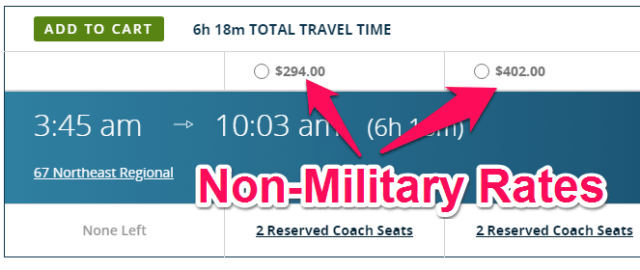 amtrak non-military rates