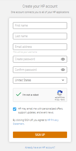 create your hp account form