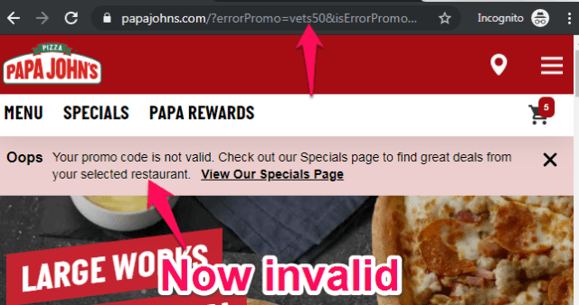 papa john's military coupon code is now invalid