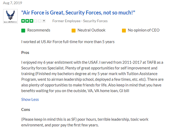 Air Force Security Forces (3P0X1): 2019 Career Details