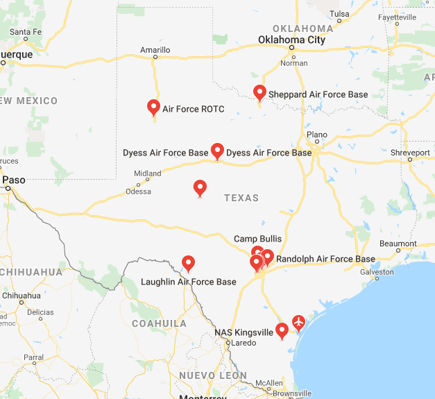 Air Force Bases In Texas Map Air Force Bases In Texas: A List Of All 7 Bases In TX
