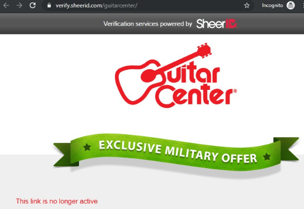 guitar center sheerid
