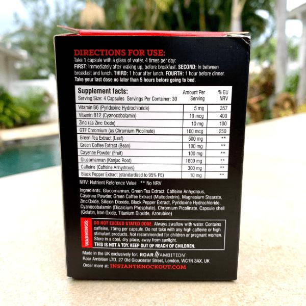 instant knockout ingredients label