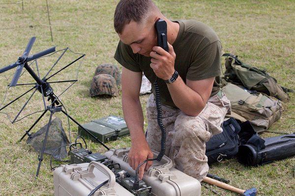 MOS 0621 Radio Operator during communication exercise