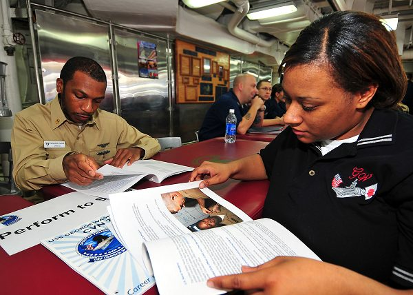 Command career counselor for explains the Perform to Serve program and conversion packages