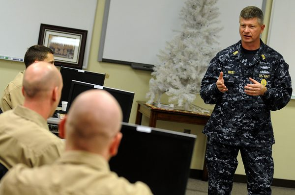 Master Chief Petty Officer of the Navy speaks with Sailors graduating from the Navy Command Career Counselor school